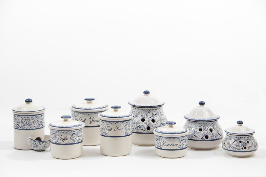 The kitchen jars set with Teate decoration is composed of 8 jars. Ceramiche Liberati, Italy