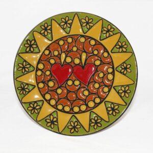 Piatto Presentosa in ceramica artigianale , cuerda seca, Ceramiche Liberati