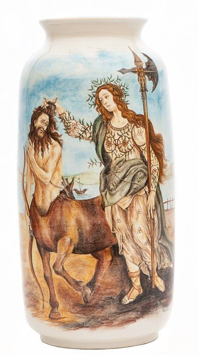 Vaso in ceramica Pallade e il Centauro, dipinto a mano, Ceramiche Liberati