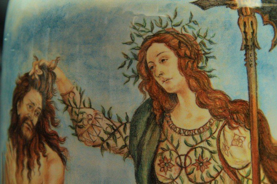 Vaso in ceramica, dipinto a mano Il ritorno di Giuditta a Betulia, Ceramiche Liberati