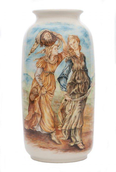 vaso il ritorno di Giuditta a Betulia, dipinto a mano. Ceramiche Liberati