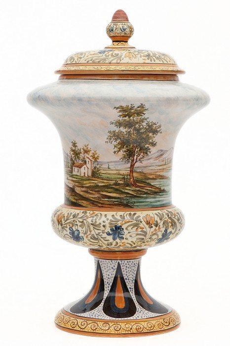 Vaso in ceramica da farmacia, paesaggio, Ceramiche Liberati