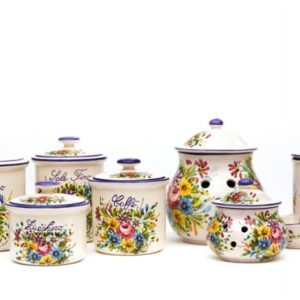 Ceramic kitchen jars set Fioraccio composed of 7 pieces, Ceramiche Liberati