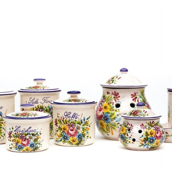 Set barattoli in ceramica per cucina 7 pezzi, decoro Fioraccio, Ceramiche Liberati