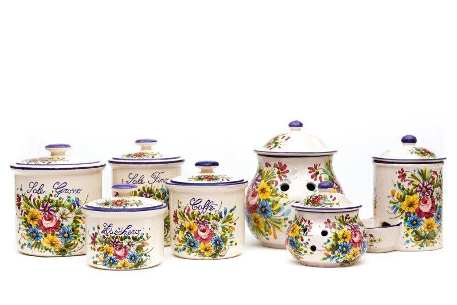Set barattoli in ceramica per cucina fioraccio liberati - Pomelli ceramica per cucina ...