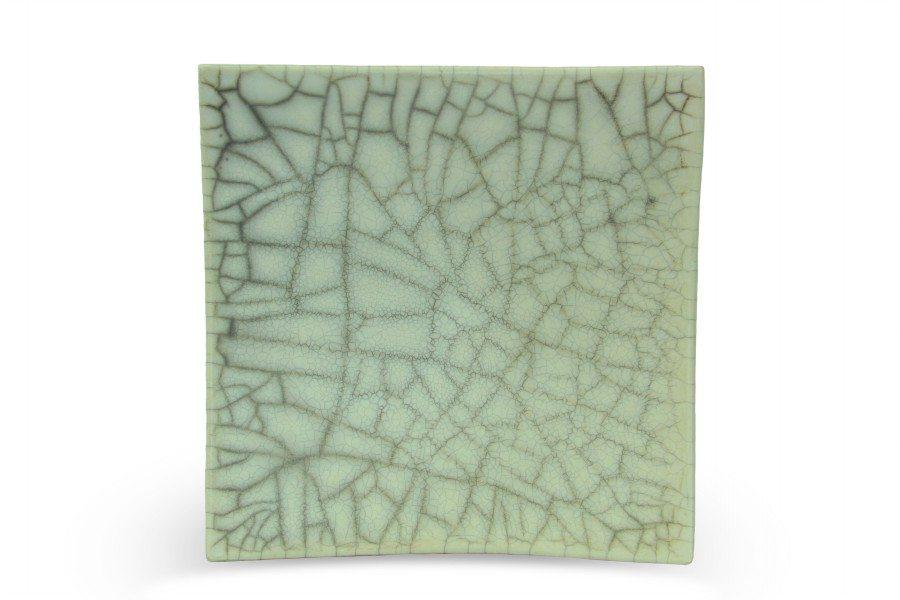 Centrotavola in ceramica raku nudo, quadrato, Ceramiche Liberati
