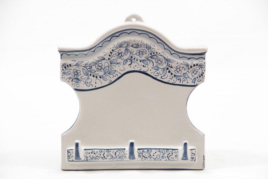 Appendino casetta in ceramica con tre ganci, teate, Ceramiche Liberati