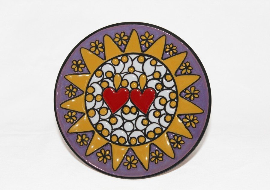 Piatto da muro Presentosa bianco e lilla in ceramica cuerda seca, Ceramiche Liberati