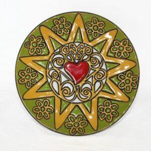 Piatto da muro Presentosa verde e bianco , cuerda seca Abruzzo, Ceramiche Liberati
