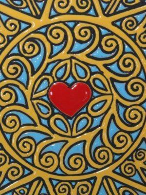 Piatto in ceramica da muro, decoro Presentosa, un cuore, Ceramiche Liberati