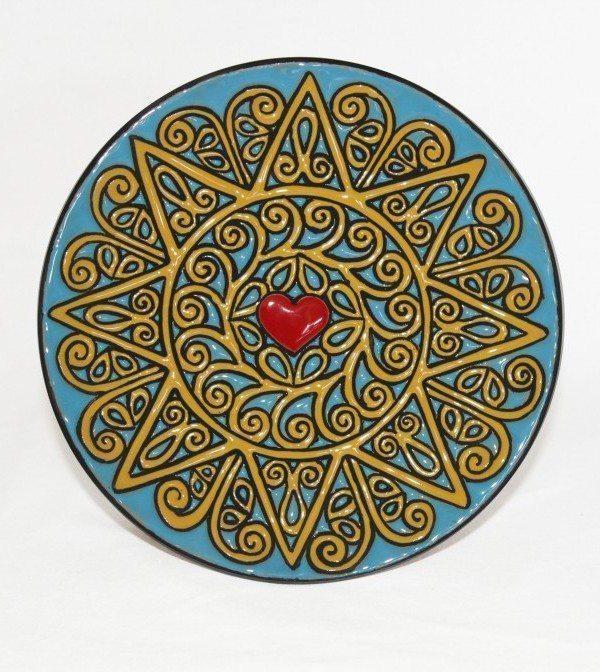 Piatto presentosa da muro in ceramica cuerda seca Abruzzo, Ceramiche Liberati