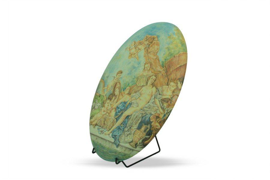 """Ovale in ceramica da muro """"Toilette di Venere"""" François Boucher, Ceramiche Liberati"""