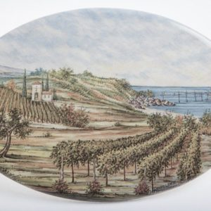 Ovale da muro in ceramica Paesaggio mare, Ceramiche Liberati