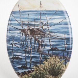 Ovale in ceramica da muro con trabocco a stampa digitale, Ceramiche Liberati
