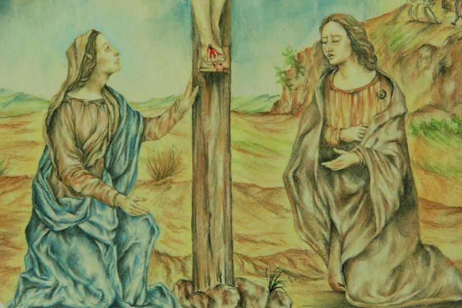 Ovale bombato in ceramica italiana, Cristo Crocifisso dipinto a mano, Ceramiche Liberati