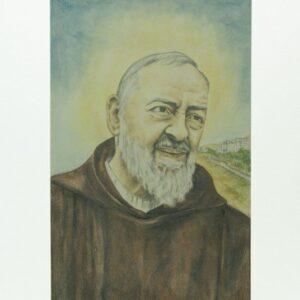 Mattonella in ceramica Padre Pio sguardo da Pietrelcino, Ceramiche Liberati