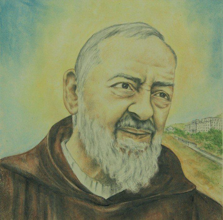 Mattonella in ceramica Padre Pio da Petealcino, Ceramiche Liberati