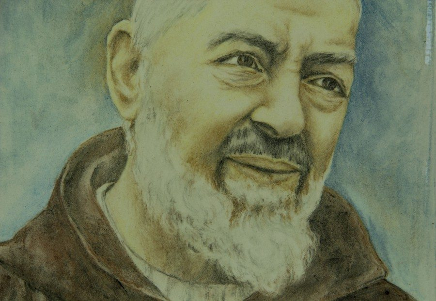 Mattonella lucida in ceramica artistica, Padre Pio, Ceramiche Liberati