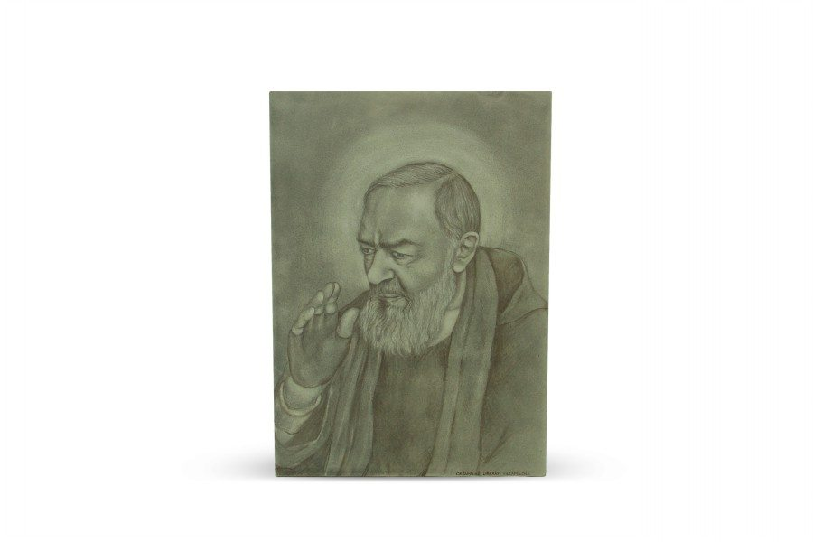 Mattonella in ceramica Padre Pio da Pietrelcina, dipinto a mano bicolore, Ceramiche Liberati