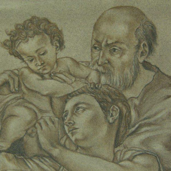 Mattonella in ceramica, la Sacra Famiglia, dipinto a mano, Ceramiche Liberati