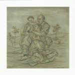 Mattonella in ceramica Sacra Famiglia, dipinto a mano, Ceramiche Liberati