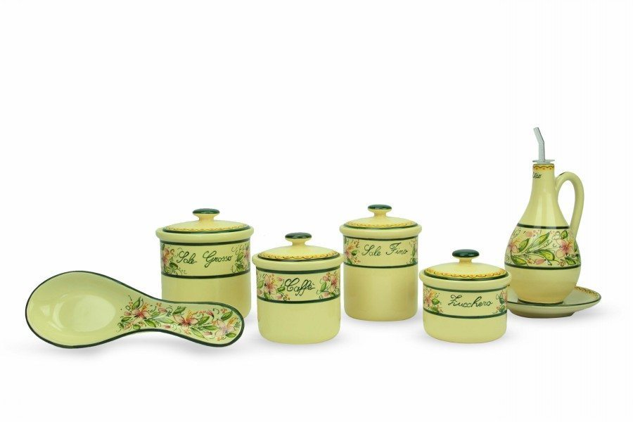 Set cucina barattoli, poggiamestolo e oliera decoro Orchidea di Ceramiche Liberati