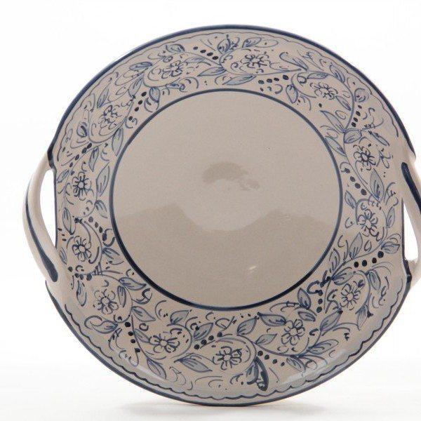 Centrotavola in ceramica con due manici, dipinto a mano , Teate, Ceramiche Liberati