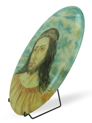 Ovale in ceramica Gesù in corona di spine, dipinto a mano, Ceramiche Liberati