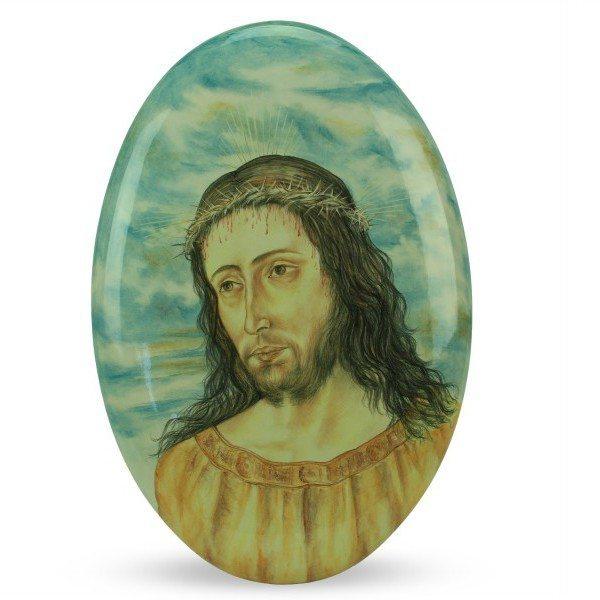 Ovale in ceramica Cristo in corona di spine, dipinto a mano, Ceramiche Liberati