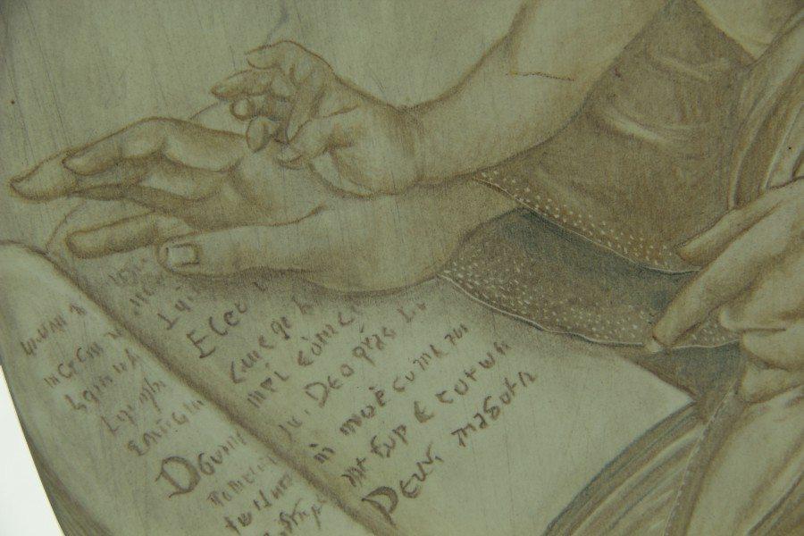 Ovale in ceramica Madonna del Libro e Gesù bambino, a matita, Ceramiche Liberati
