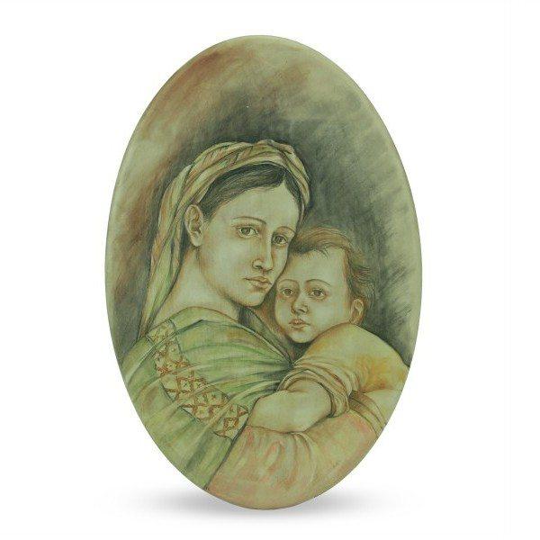 Ovale in ceramica, dipinto a mano Madre Maria e Gesù bambino, Ceramiche Liberati
