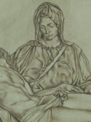 Ovale in ceramica La Pietà di Michelangelo, dipinto a mano, Ceramiche Liberati