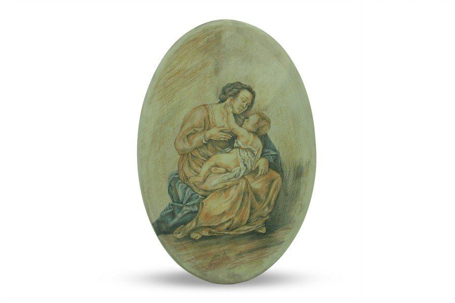 Ovale in ceramica, Madonna con bambino dipinto a mano a colori, Ceramiche Liberati
