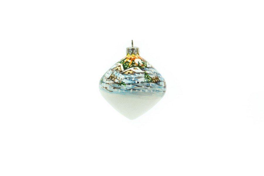 Pallina in ceramica per Natale, paesaggio invernale, Ceramiche Liberati