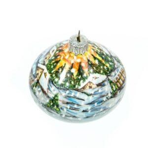 Ceramic Christmas ball, winter landscape, Ceramiche Liberati