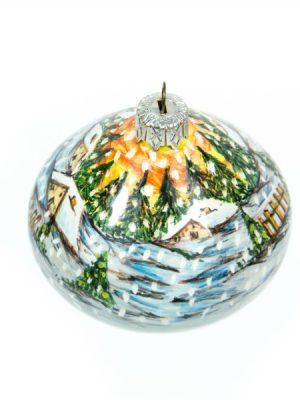 Pallina per Natale in ceramica, paesaggio invernale, Ceramiche Liberati