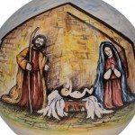 Pallina di Natale in ceramica, dipinto a mano Sacra Famiglia, Ceramiche Liberati