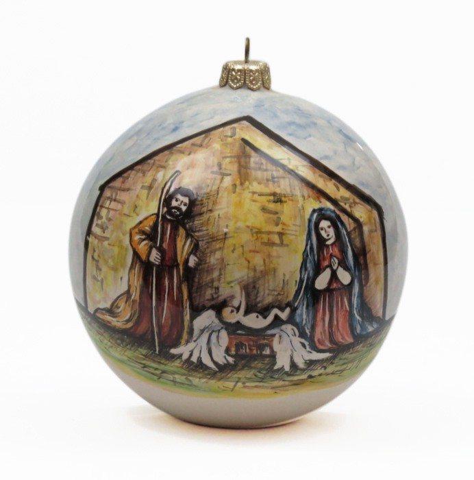 Pallina di Natale in ceramica Sacra Famiglia, diametro 8 cm, Ceramiche Liberati