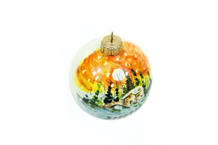 Pallina a sfera in ceramica, paesaggio invernale, dipinto a mano, Ceramiche Liberati