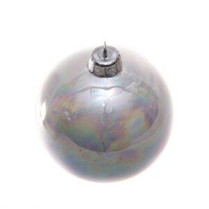 Pallina di Natale in ceramica, lustri, diametro 8 cm, bianco. Ceramiche Liberati