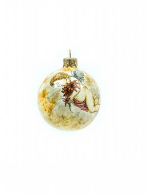 Christmas ball Cupid with poinsettias, Ceramiche Liberati