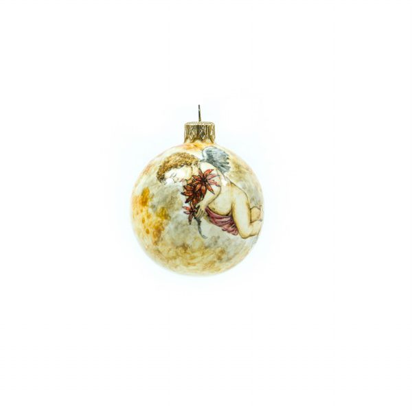 Pallina natalizia Puttino con Stella di Natale, Ceramiche Liberati