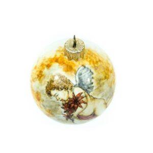 Christmas ball Cupid with poinsettias, Ceramiche Liberati