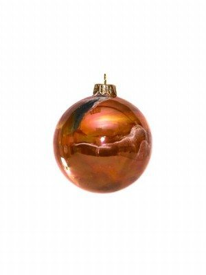 Ceramic Christmas ball with orange lusters, Ceramiche Liberati