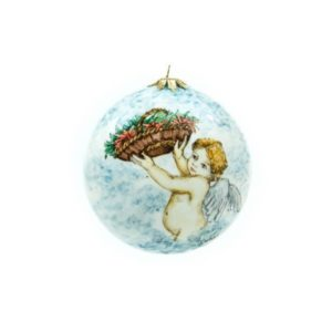 Italian ceramic Christmas ball hand-decorated with ight-haired Cupid and adorned with red Christmas flowers. Ceramiche Liberati, Villamagna, Chieti, Abruzzo, Italy