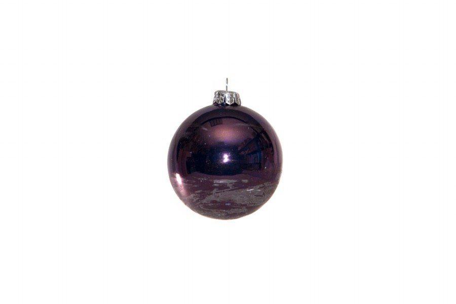 Pallina di Natale in ceramica con lustri metallici, colore blu violaceo. Ceramiche Liberati