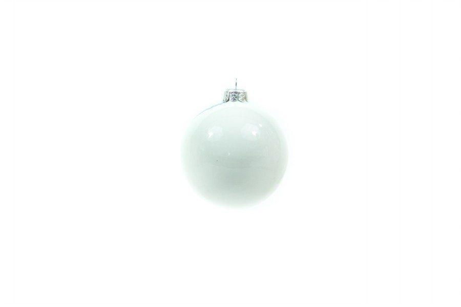 Pallina in ceramica, paesaggio invernale blu bianco, Ceramiche Liberati