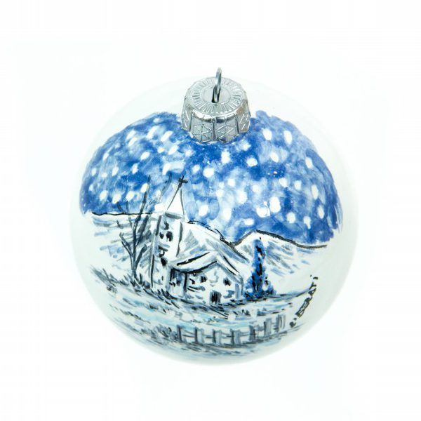 Spherical Christmas ball winter blue landscape, hand painted.
