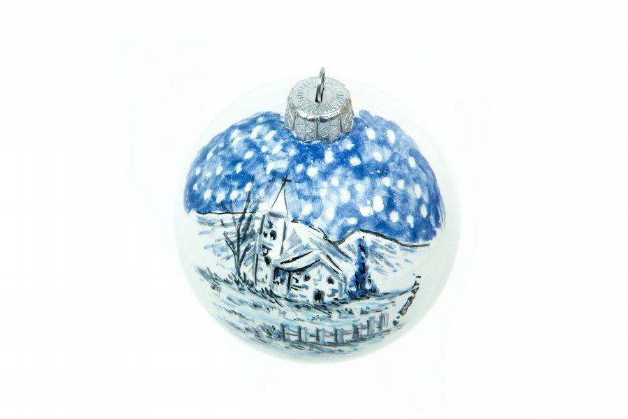 Pallina a sfera per Natale, paesaggio invernale blu bianco, Ceramiche Liberati