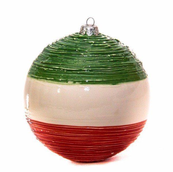 Pallina di Natale tricolore in ceramica